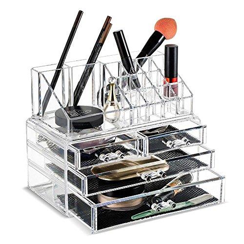 fobuy klar Acryl Make-up Organizer Aufbewahrung Ständer Display Tisch für Kosmetik Set Halterung, Schmuck–20Abschnitte mit 4Schubladen