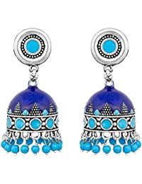 Aadita Alloy Silver Plated Chandbali Jhumki Jhumka Dangle And Drop Earrings For Women And Girls