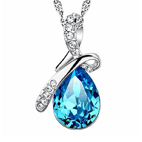 Besflily Schmuck Elegante Blau Wasser Tropfen Zirkonia Anhänger Halskette mit 45cm (18in) Ketten Geschenk für Damen Mädchen
