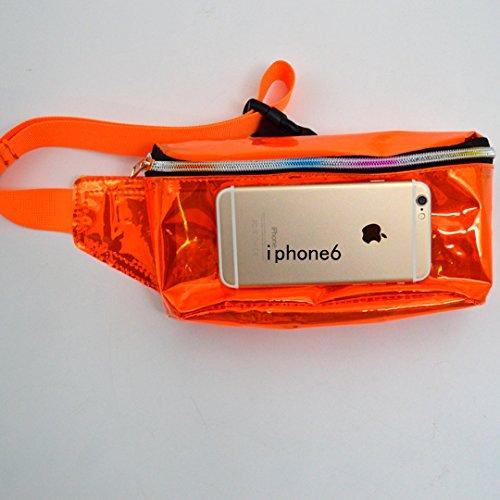 La Haute Unisex bolsas de cintura Correr Senderismo riñonera cintura paquetes reflectante PVC impermeable al aire libre bolsas de deporte, naranja