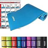 POWRX Gymnastikmatte Yoga und Pilatesmatte, Blau, 190 X 100 X 1.5 cm, 400077