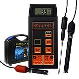 Digital-pH/ORP mV/Temperatur-Messgerät Wasserqualität Tester mit ATC Austauschbare pH Redox-Elektrode Abnehmbarer Temperaturfühler für Aquarium, Laborversuch, Hydroponik Wasser Testing Tool
