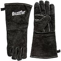 Bruzzzler Guantes de barbacoa refractarios / guantes de cuero para barbacoa largos de talla universal, guantes resistentes al calor para la barbacoa, la chimenea, el horno, la barbacoa de gas y de carbón; acabados de alta calidad