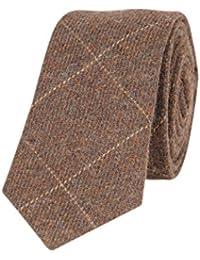 Tiekart men brown checked woollen tie