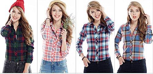 ACVIP Femmes/Fille Étudiante Chemise à Carreaux Simple Manche Longue Revers Blouse Outwear Casuel en Coton,13 Couleurs Rose
