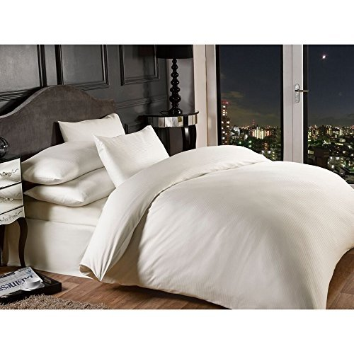 Grovesnor Satin Stripe Cotton Rich 1000 Thread Count Duvet cover Bed Set Bedding, Polyester-Cotton, Super King Size, Cream