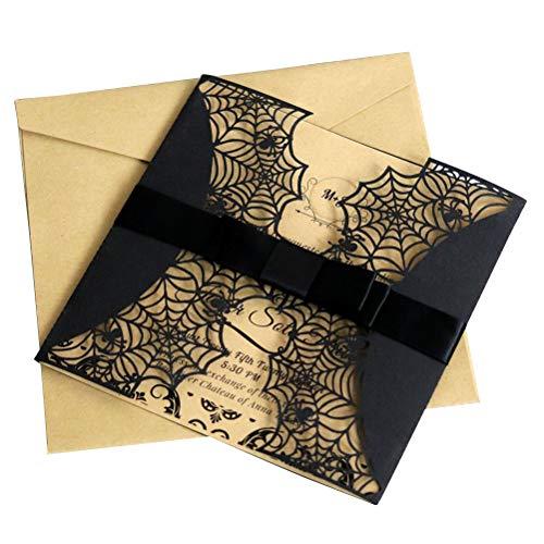 PRETYZOOM Kreative Laser Cut Halloween Einladungen Karte Hollow Horror Party Einladungen Karten Spiderweb Design Karten Mit Bowknots, 10 Stück (schwarz)