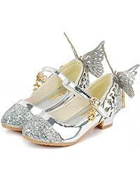 YOGLY Zapatos de Tacones para Niñas Zapatos Princesa de Lentejuelas con Alas  Zapatilla de Baile Sandalias b26e61e60869