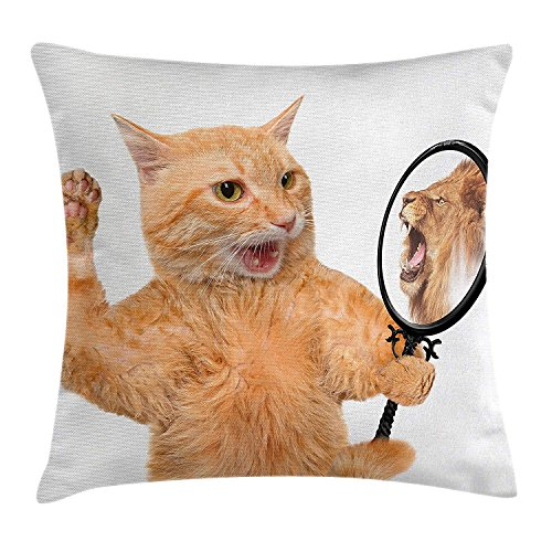 Kitten Throw Pillow Cushion Cover, A Cat Looking into The Mirror and Seeing a Reflection of a Lion Digital Image, Decorative Square Accent Pillow Case, 18 X 18 inches, White and Apricot -