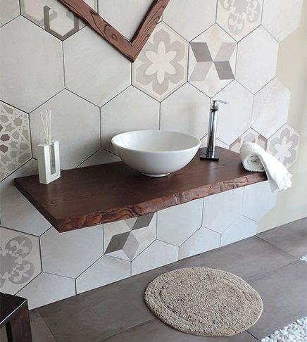 Mensola piano d'appoggio porta lavabo in legno massello, misura cm.80, per bagno