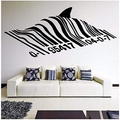 Barcode Shark Wandtattoo Vinyl Street Art Graffiti Stil Wandkunst Wand Hai Design Home Straße Wanddekoration 94 * 42 Cm Zxfcczxf
