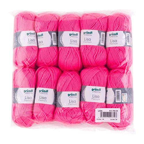 Gründl 760-30 Lisa Premium Wolle, Polyacryl, neonpink, 32 x 27 x 6 cm
