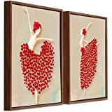 Art Street Red Floral Dancing Lady Framed Canvas Painting Set Of 2 Wall Art Print-13x13 Inchs