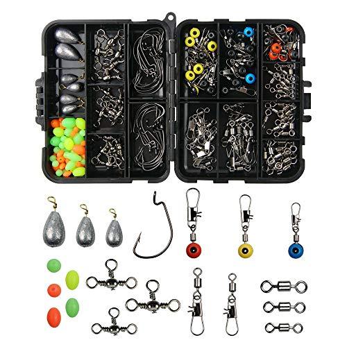 Diyarts 162pcs kit di accessori da pesca con scatola di immagazzinaggio portatile attrezzatura da pesca set con ganci per ganci connettore girevole per tallone girevole