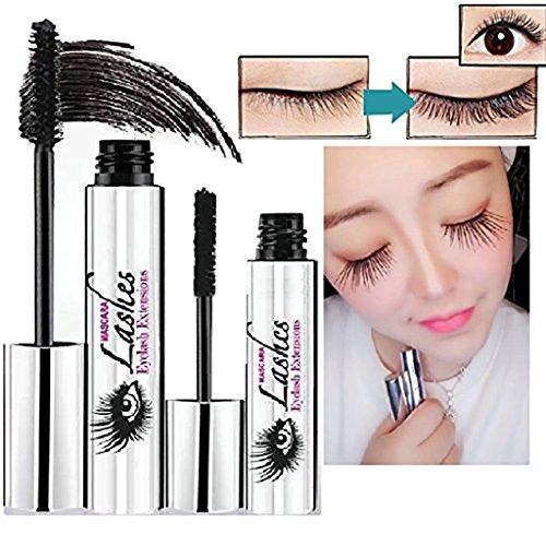 Prevently 4D Mascara Schwarz Natürliche Lange Wimperntusche Creme Makeup DDK-Mascara-Set LashCold Wasserdichte Mascara Wimpernverlängerung (Schwarz) -
