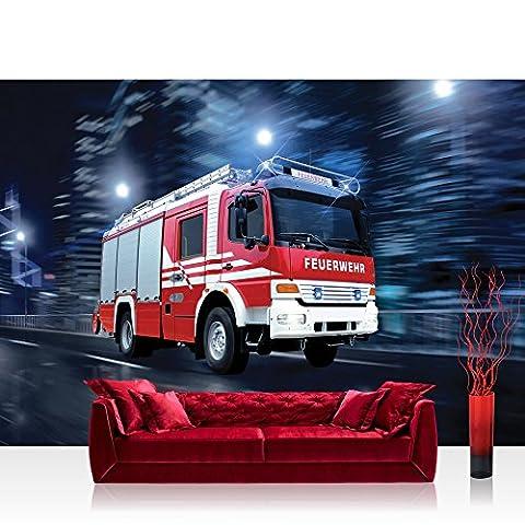 Fototapete 254x184 cm PREMIUM Wand Foto Tapete Wand Bild Papiertapete - Skylines Tapete Feuerwehr Auto Nacht Lichter rot - no. 535