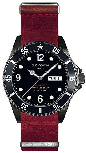 OXYGEN - EX-D-MBB-40-NL-RE - Montre Mixte - Quartz - Analogique - aiguilles luminescentes - Bracelet Cuir Rouge