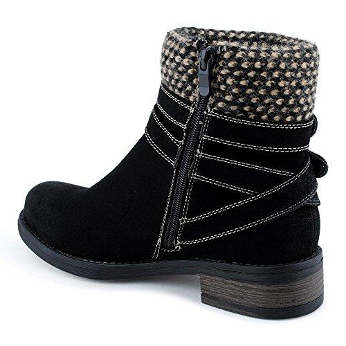Damen Stiefeletten Schnür Stiefel Schnalle Reißverschluss Strick Blockabsatz Velours-Optik Muster Biker Boots Schuhe Schwarz