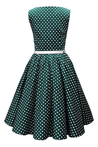 Black Butterfly 'Audrey' Vintage Polka-Dots Kleid im 50er-Jahre-Stil (Blaugrün, EUR 50 - 4XL) -