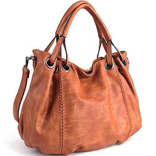 CASELAND Damen Handtasche Umhängetaschen Damen PU Leder Cross-body Schultertasche Hobo Taschen Henkeltaschen Grosse Kapazität (L:40cm * H:30cm * W:19cm) Braun