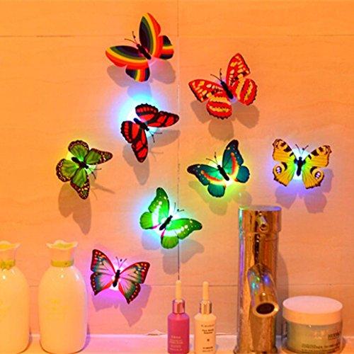 VOVO Wandsticker Schmetterling LED Lichter ❤️Vovotrade 1 Stück Tiere New House Wohnzimmer Schlafzimmer Kinder Kind Wandaufkleber 3D Haus Dekoration Wandaufkleber Zitate für Küche (Random) (Einfügen Rote Koralle)
