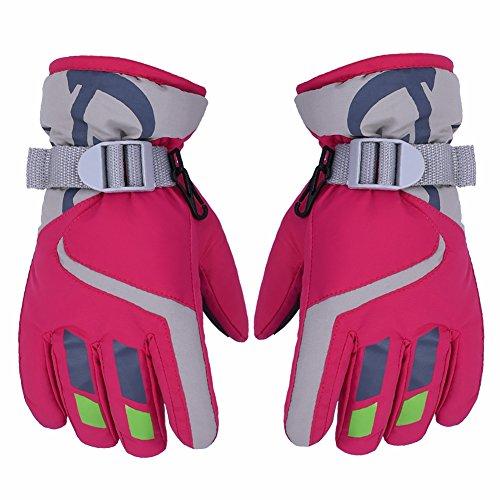 AONIJIE Kinder Ski Handschuhe Wasserdicht Winddicht Warme Futter Outdoor Sports Snow Handschuhe Für 5-10 Jahre Alt Junge & Mädchen (Hot Pink)