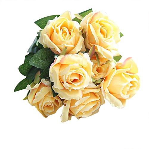 UEVOS künstliche Blumen Kunstblumenstrauß Bouquet gefälschte Multicolor Real Touch Seide Rosen Blume Brautstrauß Hochzeit Home Decor (1 Zweig 7 Kopf) Wohnaccessoires (Seide Blumen Rosen Gelb)