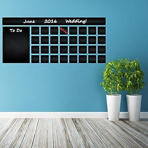 (100x 44cm) Tableau Noir Calendrier Planning Mural/mois effaçable avec liste de choses à faire/Tableau Noir Autocollant mural en vinyle pour dessin + Crayons sans boîte