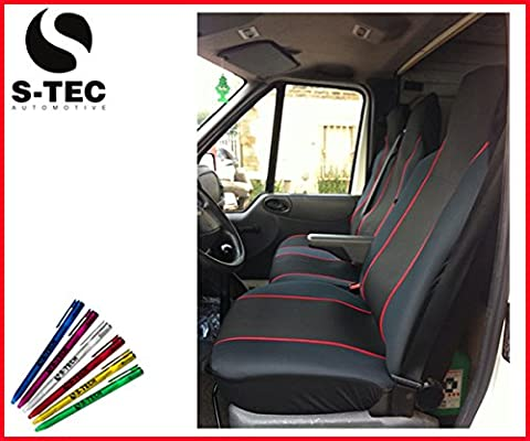 LDV CONVOY 96-05 REAR WHEEL DRIVE KIA PICANTO 04-11 - S-tech Black With Red Piping Van Seat Covers | Attractive Design 2+1| Heavy Duty Durable| FREE S-TECH PEN