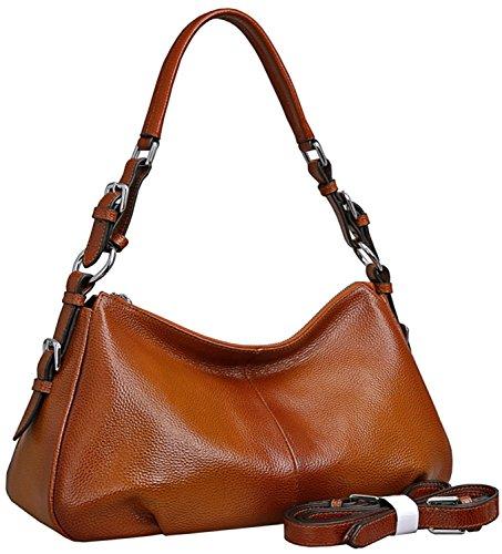 HESHE Damen leder-schulter-handtaschen-einkaufstasche top griff tasche damen designer handtaschen satchel cross-body-handtasche Sorrel-new (L) 13.8