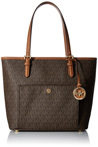 Michael Michael Kors Jet Set Medium Tote (Michael Kors Damen Jet Set Item Medium Top Zip Snap Pocket Tote, Braun (Brown), 12 x 28 x 31 cm)