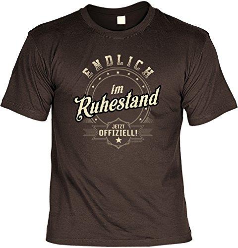 Rentner-Sprüche Tshirt lustiges Geschenk Ruhestand : Endlich im Ruhestand Jetzt Offiziell - Rentner-Shirt Motiv/Spruch Rente + Urkunde Gr: L