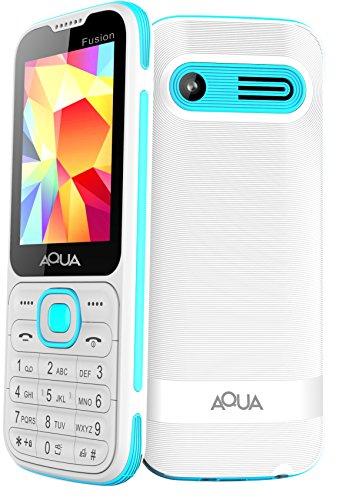 """Aqua Fusion - 2.4"""" Dual SIM Basic Keypad Mobile Phone with Auto Call Recording Feature - White"""