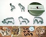 GRANNY'S GIFTS Ausstechform-Set Tiere 5 Safari Tiere in Edler, eleganter Metall-Box - Elefant, Löwe, Nashorn, Giraffe, Strauß - INKLUSIVE Rezepten