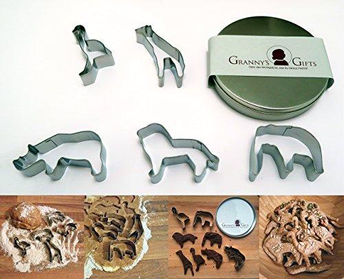 GRANNY\'S GIFTS Ausstechform-Set Tiere 5 Safari Tiere in Edler, eleganter Metall-Box - Elefant, Löwe, Nashorn, Giraffe, Strauß - INKLUSIVE Rezepten