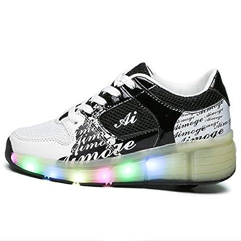 LILY999 Junge Mädchen Mit Rollen Sneaker Led Farbwechsel Schuhe Skateboard Rollschuhe für Unisex-Kinde(EU 39,Schwarz Weiß)