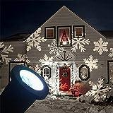 ERGEOB Draussen LED Beamer Lampe Weihnachten Baum Garten Terrasse Haus Dekor Schneeflocke Landschaft Flut Beleuchtung Weiß