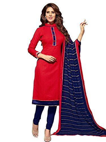 KANCHNAR Dupatta(316D10003_Red and Navy Blue_Free Size)