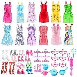 ASANMU 50 Pezzi Vestiti e Accessori per Bambole Dolls, Abito per Dolls Gonna Moda Scarpe Oggetto Rosa Grucce per Bambole…