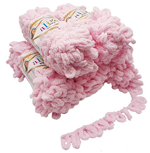 Alize Puffy 5 x 100 Gramm Strickwolle, 500 Gramm Fingerstrick - Wolle super Bulky, Schlaufenwolle, Stricken ohne Nadel (rosa 31)