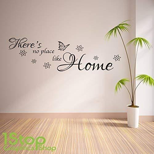 1Stop Graphics Shop - Theres No place like home Wandaufkleber Zitat - Schlafzimmer Wandkunst Aufkleber X119 - Lavendel, Medium