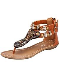 Y-BOA Sandales Femme Bohême Folklorique Bijoux Vintage Été Nu-Pieds T-strap Chaussures Plage Voyage