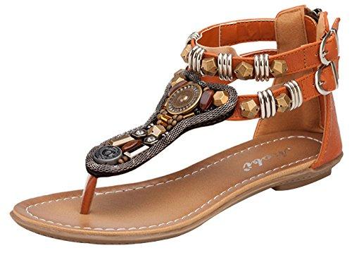 La Vogue Sandale Femme Strass Bohême Clip Toe T-Strap Tongs Chaussure Vintage Plage Voyage Été Brun