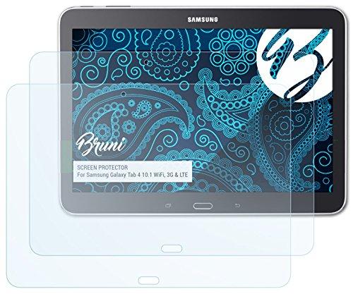 Bruni Samsung Galaxy Tab 4 10.1 (WiFi, 3G & LTE) Folie - 2 x glasklare Displayschutzfolie Schutzfolie für Samsung Galaxy Tab 4 10.1 (WiFi, 3G & LTE)