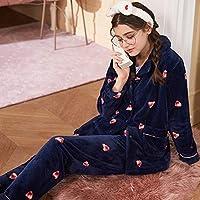 CN Pijamas Mujer Otoño E Invierno Dulce Lindo Cálido de Manga Larga Grueso Coral Polar Cardigan