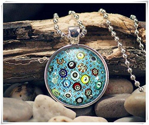 Millefiori Pendant, Floral Mosaic Necklace, Millefiori Jewelry