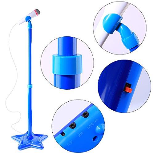 Karaoke Mikrofon, Foxom Verstellbar Kinder Karaoke Mikrofon mit Ständer Musik Spielzeug für Kinder Mädchen Jungen (Blau)
