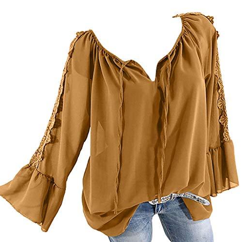 TOPSELD Top Damen, Frauen Weg Schulter Verband Spitze Chiffon Lange ÄRmel Plus Size Leicht Tops Bluse (Orange Jeans Plus Size)