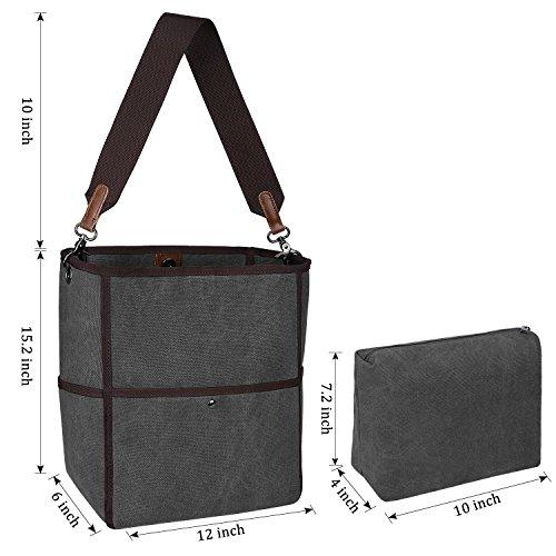 S-ZONE Sacchetto di spalla di Tote della borsa casuale della borsa della spalla della tela di canapa delle donne di S-ZONE (grigio) Grigio