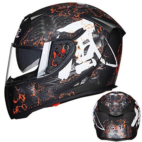 Qianliuk Cascos Moto Full Face Invierno Caliente Doble Visera Racing Moto Casco...